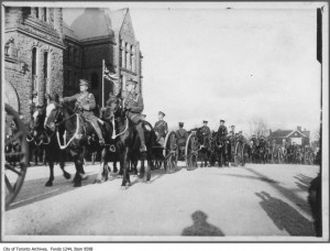 Horse Artillery marching past Old Toronto City Halll c.1915