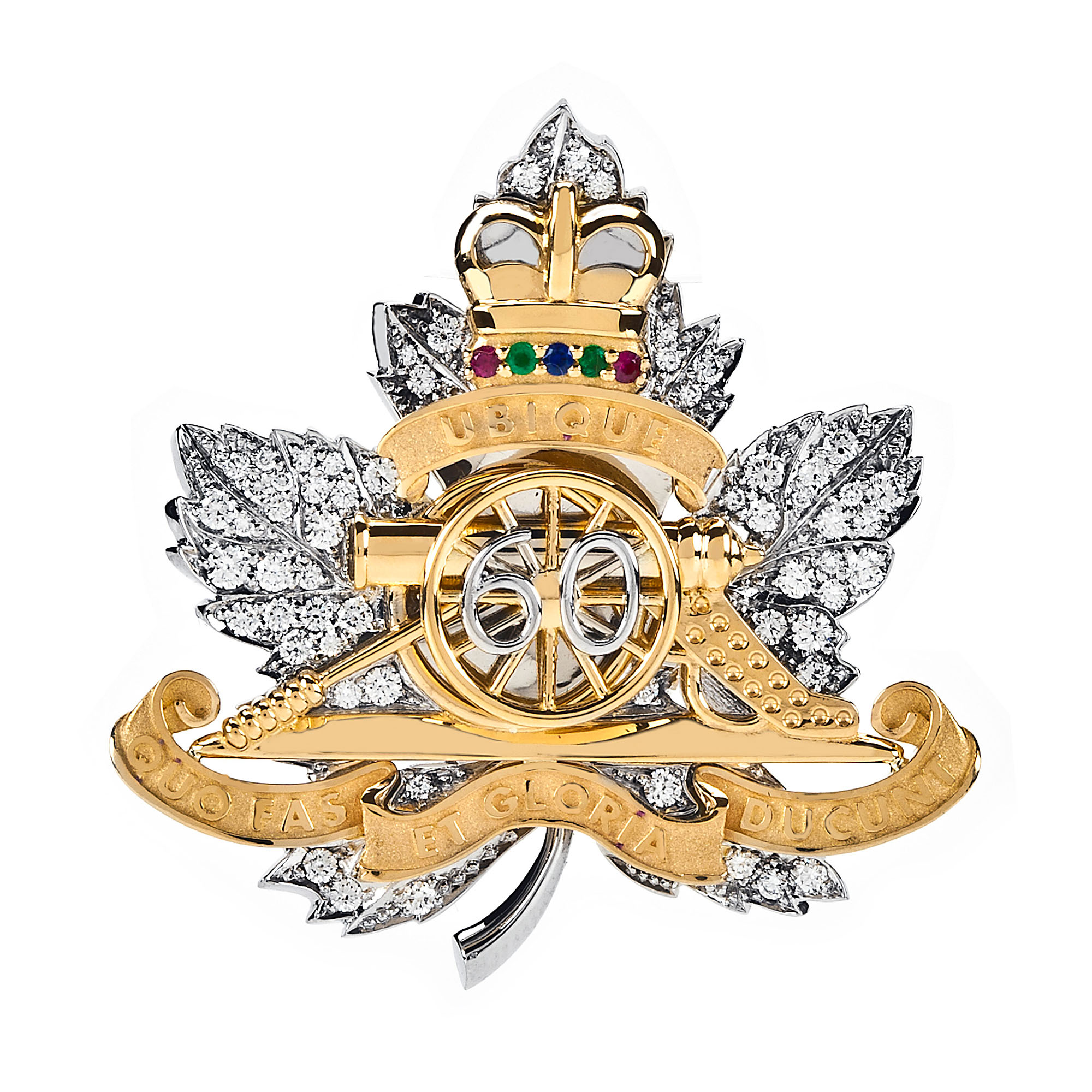 Birks, Canada's leading manufacturer and retailer of fine jewellery, has produced a diamond brooch which has been presented to Her Majesty the Queen, Captain General of the Royal Regiment of Canadian Artillery yesterday, a gift from the Regiment in celebration of her 60th anniversary of service as Captain General. (CNW Group/BIRKS & MAYORS INC.)